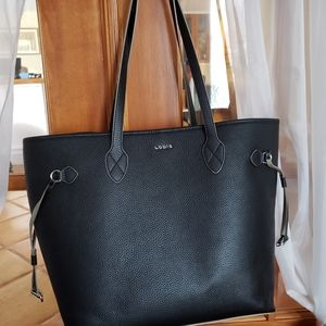 Lodis Black Leather Tote